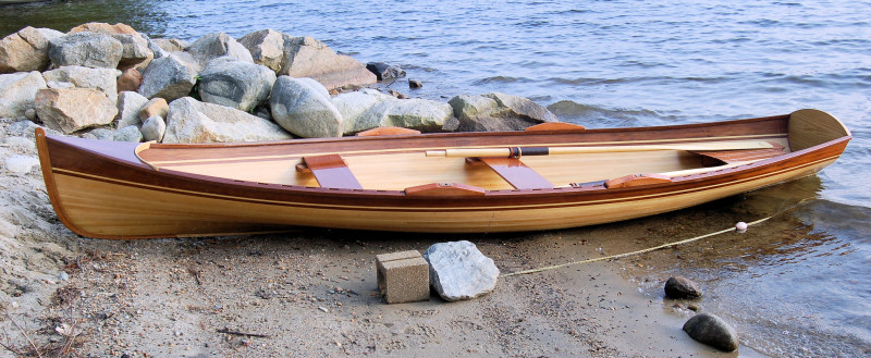 This is a strip-planked Rangeley boat built by Newfound Boatworks.